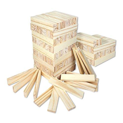 Schramm® 200 Stück Holzbausteine für Kinder Holzklötzer Holz Klötzer Bausteine Puzzle Baustein Holzbaustein Holzbaukasten 200er Pack