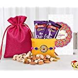 Tied Ribbons Rakhi With Gift For Brother (Designer Rakhi,Almonds,Cashew,Rasins,2 Dairy Milk Chocolates,Rakhi Card...