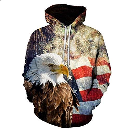 Hoodies Man Year Fireworks American Flag Eagle Hoodie Beiläufiges Kapuzen-Sweatshirt LMWY-018 4XL -