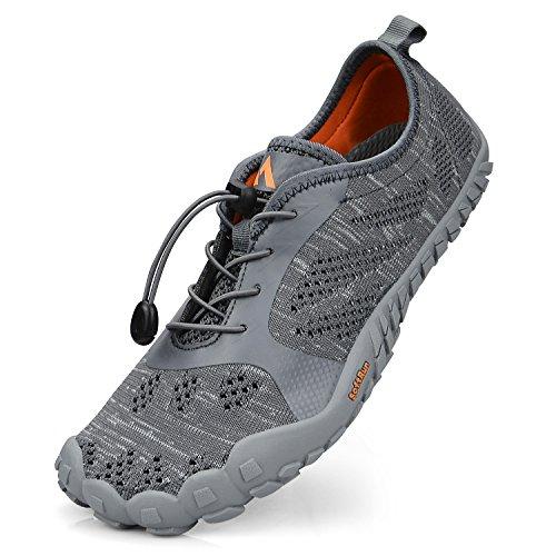 Troadlop Herren Barfußschuhe Badeschuhe Outdoor Fitnessschuhe Breathable Fünf Finger Schuhe Grau 43