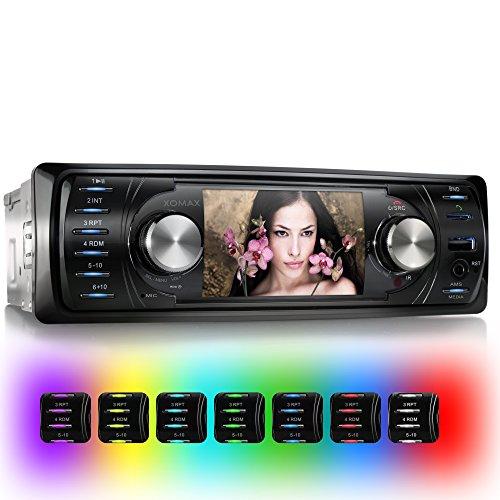 XOMAX XM-VRSU311BT Autoradio / Moniceiver mit Bluetooth Freisprecheinrichtung & Musikwiedergabe + Monitor/Display/Bildschirm + Tastenbeleuchtung frei einstellbar + USB Anschluss & Micro SD / SDHC Slot (jeweils bis zu 32 GB!) für MP3, WMA, AVI, MP4 + AUX IN Anschluss + ohne CD Laufwerk + Anschluss für Rückfahrkamera + Single DIN (1 DIN) Standard Einbaugröße + inkl. Einbaurahmen, Blende & Fernbedienung