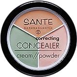 SANTE Naturkosmetik Correcting Concealer 3in1, 3 Farbnuancen zur Abdeckung von Schatten & Makeln, Vegan, 2x6g Doppelpack
