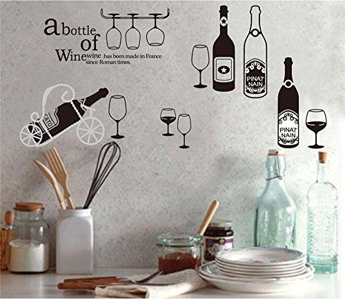 ufengke Personalisierte Wein und Weinglas Wandsticker, Küche und Esszimmer Entfernbare Wandtattoos...