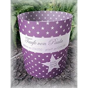 4er Set Tischlicht Tischlichter Sterne Taufe Tischdeko personalisierbar lila