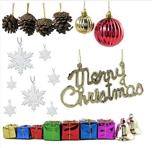 Albero di natale decorazioni–set/64mini decorazioni per piccoli alberi di natale–32bianco glitter fiocchi–assortiti ornamenti palla di natale, pigne, avvolto regali e campane–gold merry christmas sign