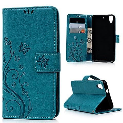 HTC Desire 626 Etui Cuir Fleur Papillon Relief Imprimé -