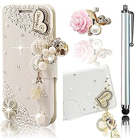 Vandot 2in1 Accessory Set Huawei P9 Lite Flip Stand PU Leather Wallet Case Magnetic Closure Cover 3D Rhinestone Diamond Heart I Love You Wooden pattern -White + Pink Flower Anti Dust Plugs