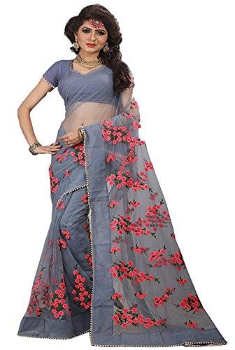 Sunshine Fashion Women's Net Fabric Saree With Blouse Piece (Grey_Free Size)