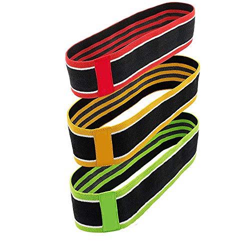 DIYurfeeling Widerstandsbänder für Hüftübungen, mit Schlaufen für Beine und Gesäß, dehnbarer Stoff, Rutschfeste elastische Innenschicht, aktiviert Gesäßmuskulatur und Oberschenkel, 3er-Pack