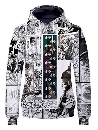 Cosstars Anime JoJo's Bizarre Adventure 3D Digitaldruck Kapuzenpullover Sweatshirt Cosplay Kostüm Pulli Hoodie Sweater Tops Mantel 1 - Jungen Joseph Kostüm