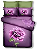 DecoKing Premium 60988Biancheria da Letto 200x 220cm con 2federe 80X 80Viola 3D in Microfibra Completo Letto Lenzuola Rosa Rose Fiori Motivo Floreale Viola Scuro Lilac Violet Lena