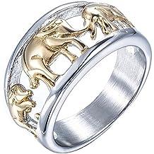 PAURO Hombres Acero Inoxidable Anillo de Oro Plateado Elefante Joyería Animal