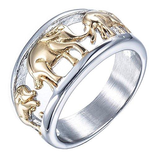 PAURO Herren Edelstahl Goldene überzogene Elefant Ring Tierschmucksache Größe 65