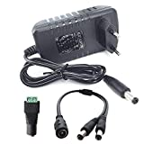 DZYDZR AC/DC Adapter Power Supply DC 12V 3A Netzadapter Wall Plug 2,1/2,5mm x 5,5mm Plug für LED Band + 12V Buchse DC Kabelstecker + 1 auf 2 Y-Splitter DC Kabel