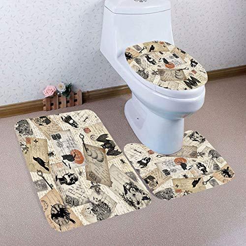 DEESEE(TM) 3-Teiliges Halloween-Badezimmerteppich mit Rutschfestem WC-Vorleger + Deckel + WC-Vorleger + Badematten-Set Light 30 * 30CM B