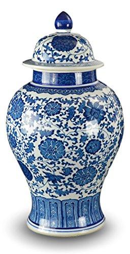 50,8cm Klassisches Blau und Weiß Porzellan floral Tempel Jar Vase, China Ming Stil, Jingdezhen (Ginger Jar Vase)