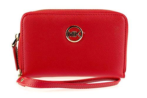 MIK Damen Geldbörse, Trendy Elegant Kunstleder Portemonnaie Geldbeutel und Handytasche in Einem (Deep Red)