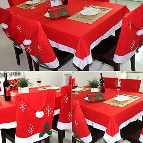 ssen und 1 Stücke Tischdecke, Set von Santa Clause Red Hat Stuhl zurück Abdeckungen Küche Stuhlhussen Sets für Weihnachten Urlaub Festliche Decor (Red Santa Hüte)