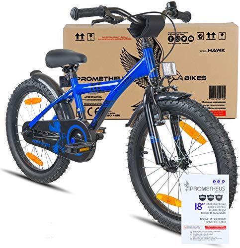 Prometheus Bicicletta per bambini e bambine dai 6 anni nei colori blu e nero da 18 pollici con freno a V in alluminio e contropedale – BMX da 18″ modello 2019 - 2