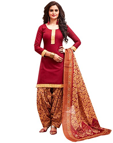 Jevi Prints Women's Unstitched Cotton Red & Beige Floral Printed Patiyala Suit...