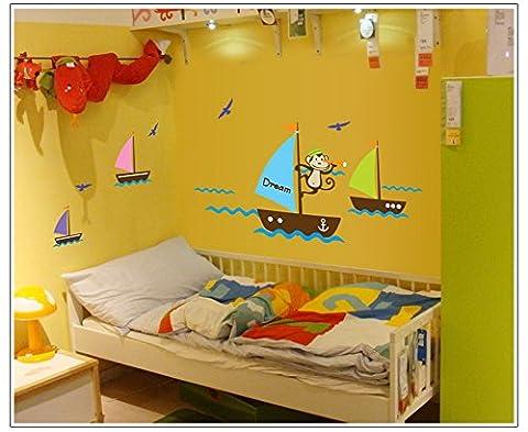 PeiTrade Kinderzimmer des Affen Meer des Meeres Wandaufkleber Kunst Abziehbild Haus Zimmer Dekor Büro Wand Wand Tapete Kunst Aufkleber Aufkleber Papier Wandbild für Haus Schlafzimmer