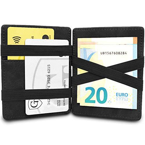 GenTo Magic Wallet Vegas - TÜV certificato RFID, protezione NFC - Regalo per uomini e donne con confezione regalo | Design Germania (Nero - Morbido)