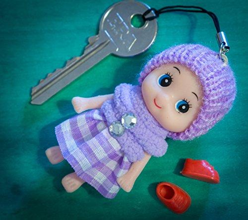 lilac-doll-cute-boots-skirt-wool-pompom-toy-charm-keyring-keychain-key-chain-soft-fluffy-cotton-knit