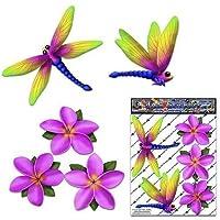 Libélula y plumeria frangipani rosado pequeña flor animal paquete de coches pegatinas - ST00064PK_SML - JAS pegatinas