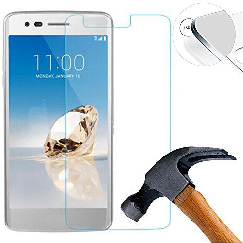 Lusee (Nur den flachen Teil abdecken 2 X Pack Panzerglasfolie Tempered Glass Hartglas Schutzfolie für LG Aristo 2 LM-X210 5.0 Zoll Premium Screen Folie Protector Displayschutz 0,3mm 9H 2.5D