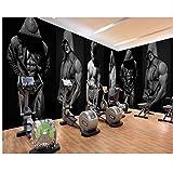 WH-PORP 3D Tapete Tapete Gym Bodybuilding Boxen Fitness Bar Hintergrund Wand Papier Benutzerdefinierte 3D KTV Wandbild Kleidung Shop Dekoration Wallpaper-350cmX245cm
