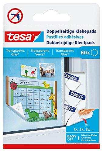 tesa Doppelseitige Klebepads (zum Befestigen von Leichtem auf transparentem Untergrund)