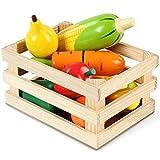 Infantastic Obstkorb Gemüsekorb 10-teilig Obst und Gemüse für Kinderküche oder Kaufmannsladen aus Holz