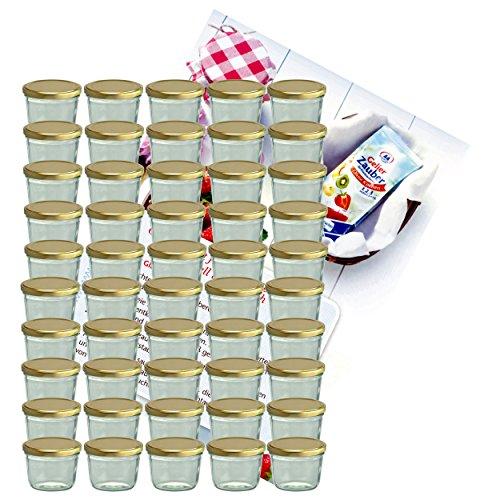 MamboCat 50er Set Sturzglas 230 ml Marmeladenglas Einmachglas Einweckglas To 82 goldener Deckel incl. Diamant-Zucker Gelierzauber Rezeptheft (Gold-kuchen-deckel)