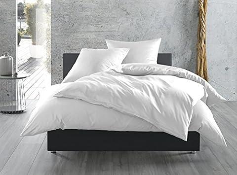 Mako-Satin Baumwollsatin Bettwäsche uni einfarbig zum Kombinieren (40 cm x 80 cm, Weiß)