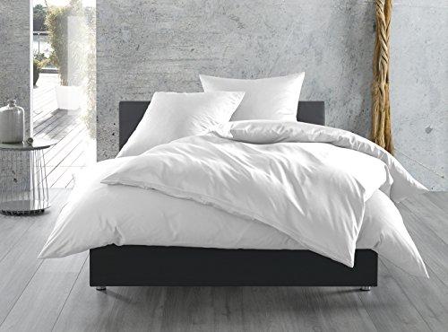 Mako-Satin Baumwollsatin Bettwäsche uni einfarbig zum Kombinieren (40 cm x 80 cm, Weiß) (Kissen-bettwäsche-set)