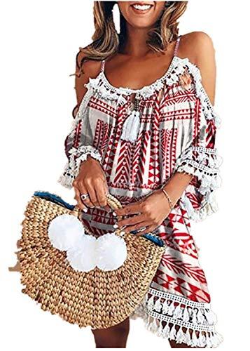 en Elegant Trägerloses Quaste Kurzarm Kleid Retro Schulterfrei Rückenfrei Kleider Kurz Boho Kleid T- Shirt Kleid Mini Sommerkleid Strandkleid Party Abendkleid ()