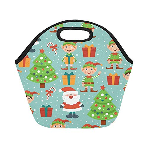 JOCHUAN Insulated Neopren Lunchpaket Christmas Pattern Elves Santa Tree Große Wiederverwendbare thermische Dicke Mittagessen-Tragetaschen für Lunch-Boxen für im Freien, Arbeit, Büro, Schule