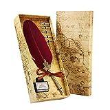 AOLVO Kit de Calligraphie Antique, Plume d'oie Stylo avec 5 Pointes, Coffret Encrier pour Joli Cadeau - Vin Rouge