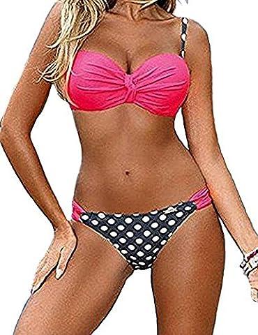 DODOING Damen Push Up Bikini-Sets Gepolstert Streifen Tupfen Tankini Bandeau Badeanzug Bademode Brasilianische Swimwear Swimsuits