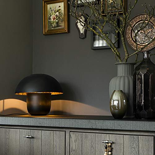 QAZQA Moderne/Design Lampe de Table/Lampe á poser/Luminaire/Lumiere/Éclairage ronde moderne 40cm noire avec intérieur doré - Canta Acier Noir,Doré Globe/Bio/Salon