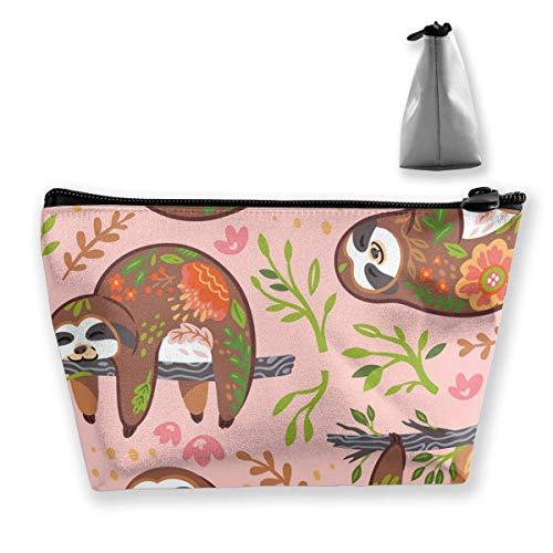 Cute Sloths with Floral Ornament in The Jungle Cosmetic Makeup Bag/Pouch/Clutch Travel Case Organizer Storage Bag for Women¡¯s Accessories Toiletry Beauty,Skincare Travel Accessory -