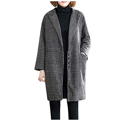 Maleya Frauen Arbeiten Plaid Vintage Winter Office Langarm Button Wolljacke Mantel Jacken Tops Patchwork Pullover der Art- und Weisefrauen Abend Party Abendkleid Kapuzenmantel Steppjacke um