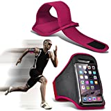 I-Sonite (Hot Pink) Justierbarer Sweatproof/Wasser-beständiger Sport-Eignungs-Laufender Turnhallen-Armband-Telefon-Fall für for Oppo F7 [ XXL]