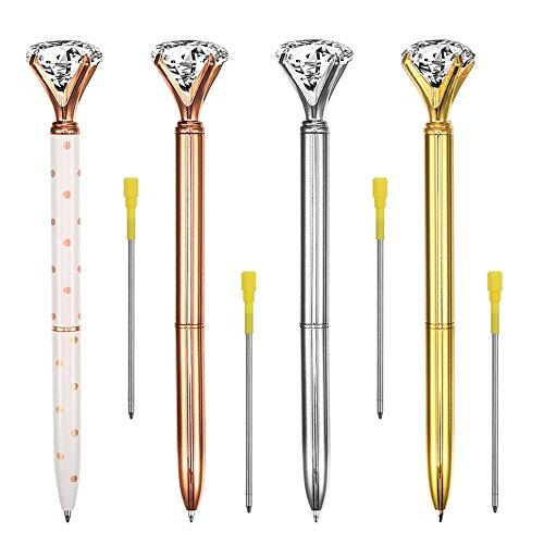 4Pcs Rose Gold Big Diamond Pens Crystal Metal Ballpoint Pen with 4Pcs Pen Refill