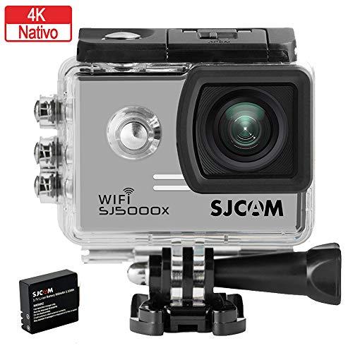 SJCAM SJ5000X-Elite Deutsche Version wasserdichte Sport Actionkamera (5,08 cm (2 Zoll), 4K/2K, WiFi, 30m, 14MP, Gyro Anti-Shake Stabilisierung, 16 Zubehörteile) Silber -