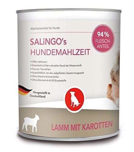 SALiNGO Hundefutter nasss, Lamm und Karotten, getreidefrei (18x800g)