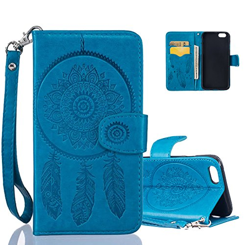 iPhone 6 Ledertasche, Aeeque® iPhone 6S Lila Brieftasche Flip Case Cover,[Schick Henna Blumen Muster] Kartenfach Standfunktion Handytasche für iPhone 6/6S mit Abnehmbar Handy Lanyard und Weich Silikon Dreamcatcher Blau