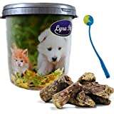 Lyra 10 kg Rinderlunge Pet Kausnack Hundefutter in 30 L Tonne + Ballschleuder