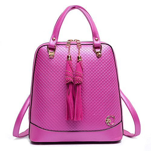 WU Zhi Pelle Nappe Donne Borsa A Tracolla RoseRed