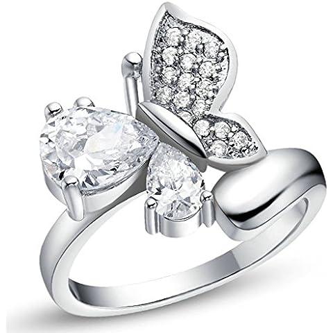 Vmculb Joyería Manera Anillo Chapado en Oro Mujer Plata Forma de Mariposa CZ con Circonitas Diamantes Imitación Pavé Anillos de Eternidad